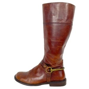 MATISSE Cognac Brown Leather Riding Boot Gold Bit